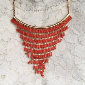 Coral gold bead drop statement necklace